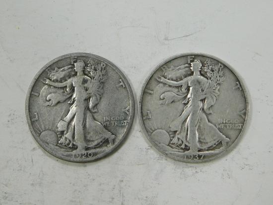 1920D & 1937S LIBERTY HALF DOLLARS