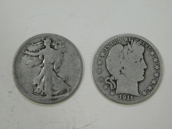 1920 & 1911 LIBERT & BARBER HALF DOLLARS