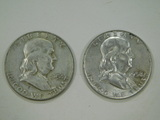 1954 & 1958 FRANKLIN HALF DOLLARS