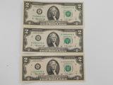 (3) 1976 SERIES $2 BILLS; NEW YORK -ATLANTA-CHICAGO