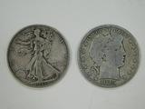1937D & 1915D LIBERTY & BARBER HALF DOLLARS