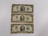 (3) 1976 SERIES $2 BILLS (2) CHICAGO & BOSTON