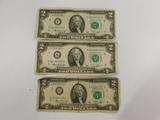 (3) 1976 SERIES $2 BILLS (2) CHICAGO & ATLANTA