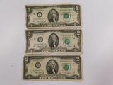 (3) 1976 SERIES $2 BILLS MINNEAPOLIS - ST LOUIS - CHICAGO