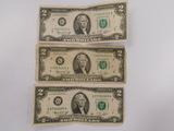 (3) 1976 SERIES $2 BILLS CHICAGO