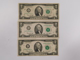(3) 1976 SERIES $2 BILLS SAN FRANCISCO - (2) CHICAGO