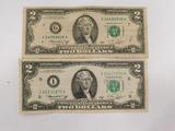 (2) 1976 SERIES $2 BILLS MINNEAPOLIS - CHICAGO