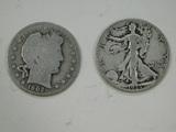 1935D & 1902 LIBERTY & BARBER HALF DOLLARS