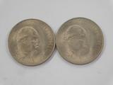 (2) 1965 CHURCHILL COMMEMORATIVE COINS