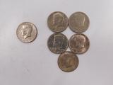(5) 1971; (1) 1972 KENNEDY HALF DOLLARS