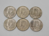 (6) 1964D KENNEDY HALF DOLLARS