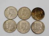 (6) 1967 KENNEDY HALF DOLLARS
