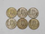 (6) 1968 KENNEDY HALF DOLLARS
