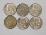 (6) 1969 KENNEDY HALF DOLLARS