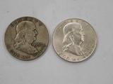 (2) 1957 FRANKLIN HALF DOLLARS