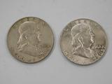 (2) 1958 FRANKLIN HALF DOLLARS