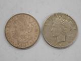 1921 MORGAN & 1925 PEACE DOLLAR
