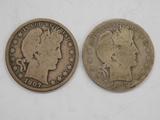 (2) 1907 BARBER / LIBERTYHEAD HALF DOLLARS