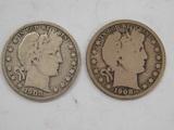 (2) 1908 BARBER / LIBERTYHEAD HALF DOLLAR
