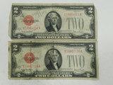 (2) 1928G $2 RED SEAL BILLS