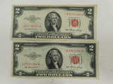 (2) 1953 RED SEAL $2 BILLS