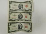 (3) 1953C RED SEAL $2 BILLS
