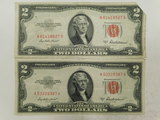 (2) 1953A RED SEAL $2 BILLS