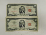 (2) 1963 RED SEAL $2 BILLS