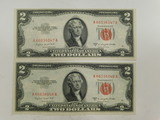 (2) 1953B RED SEAL $2 BILLS