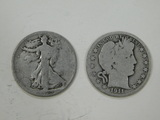 1920 & 1911 LIBERT & BARBER HALF DOLLARS