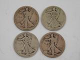 (2) 1917 & (2) 1919 LIBERTY WALKING SILVER HALF DOLLARS