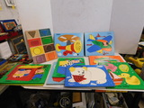 (10) WOODEN PLAYSKOOL TRAY PUZZLES