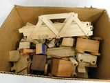 UNMARKED WOODEN TRAIN SET & CARS