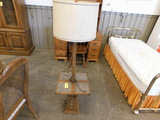WOOD & TILE END TABLE / LAMP