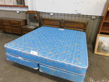 VINTAGE DOUBLE BED W/ NIGHT STAND AND DRESSER WITH MIRROR