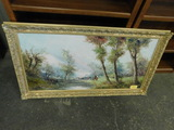 BEAUTIFUL COUNTRY SCENE OIL ON CANVAS - GILT FRAME