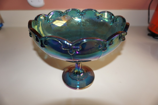 "7-1/2""BLUE CARNIVAL GLASS COMPOTE"