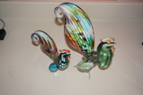 (2) ART GLASS ROOSTERS