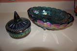 BLUE CARNIVAL GLASS FRUIT BOWL & CANDY DISH