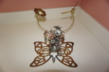 BUTTERFLY TRIVIT, HUMMINGBIRD PAPERWEIGHT, TIN CUP OF FLOWERS