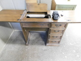 WOODEN SEWING MACHINE CABINET W/ CONTENTS