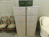 (2) 5 DRAWER METAL STEELCASE FILE CABINETS & CARD FILES