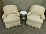 (2) MATCHING BEIGE SWIVEL ROCKERS & MARBLE END TABLE