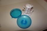 (2) BLUE GLASS DISHES & LEFTON SINGLE SERVE TEA SET