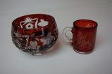 1904 WORLDS FAIR CUP & RUBY RED ETCHED DISH