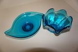 (2) AQUA BLUE ART GLASS DISHES