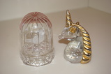 UNICORN & BIRD IN A CAGE GLASS PAPERWEIGHTS
