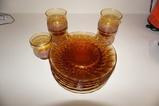 (8) AMBER DINNER PLATES W/ (5) GLASSES