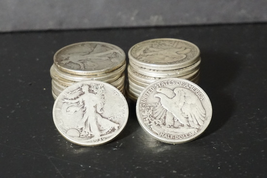 ROLL OF (22) WALKING LIBERTY HALF DOLLARS