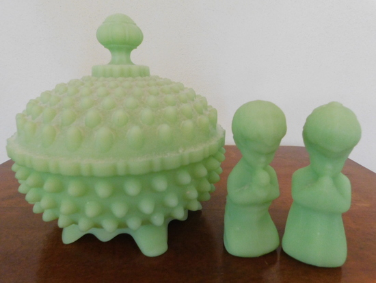 FENTON GREEN SATIN HOBNAIL  CANDY DISH & PRAYING CHILDREN